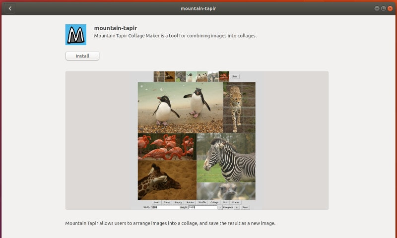 Mountain Tapir collage maker in Ubuntu and other Linux distributions