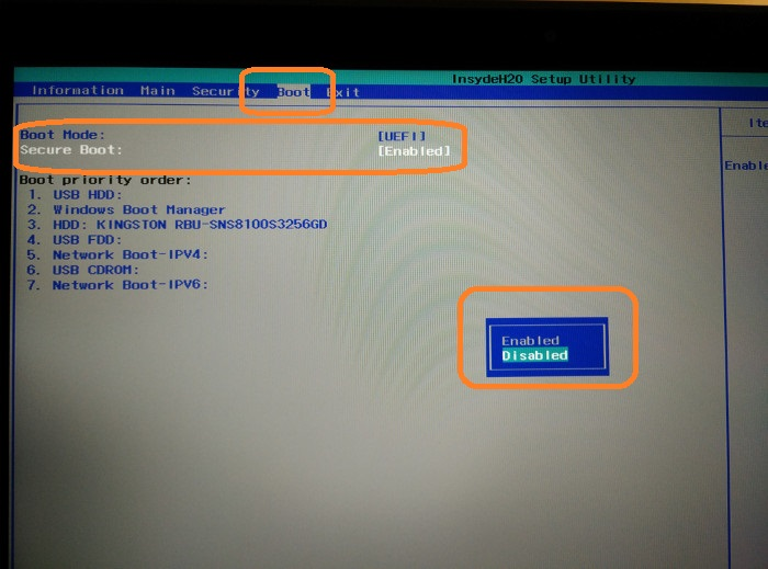 Disable secure boot in Acer laptops