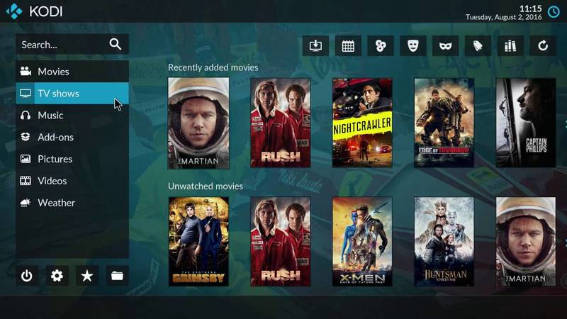 Kodi media center running in Ubuntu Linux