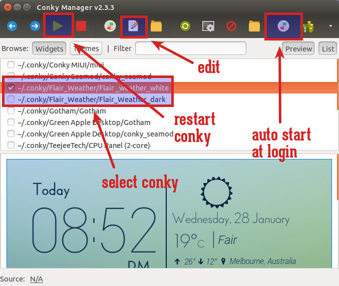 Flair weather Conky Manager GUI