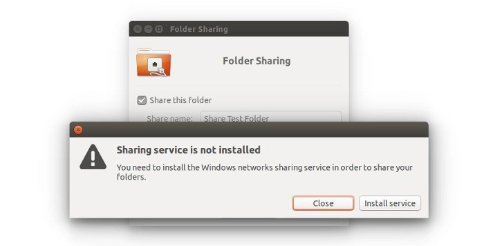 Sharing service in Ubuntu