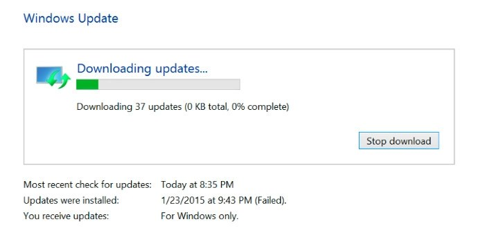 windows 8.1 cant download updates