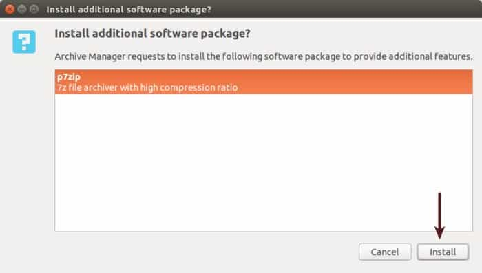 install 7zip in Ubuntu
