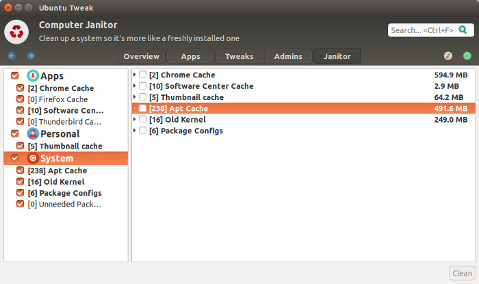 Ubuntu Tweak Tool for cleaning up Ubuntu system