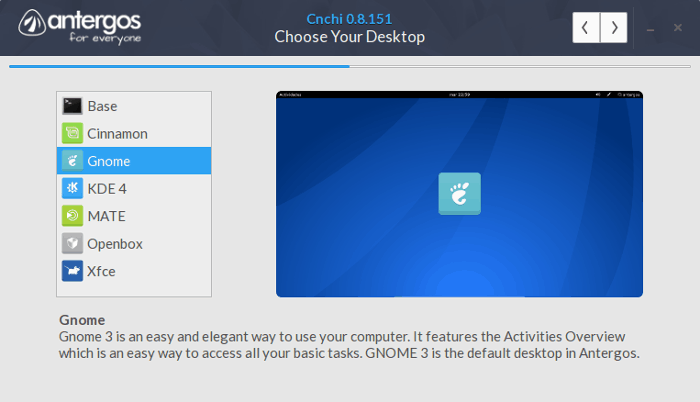 Select desktop environment while installing Antergos Linux