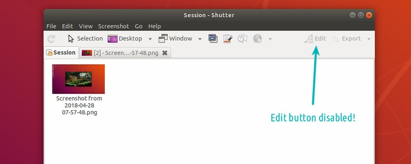 Fixing disabled button in Shutter on Ubuntu 18.04