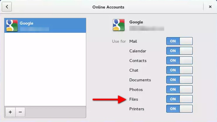 GNOME online accounts (Google account added)