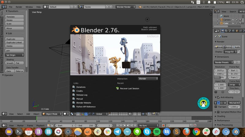 Blender running on Ubuntu 16.04