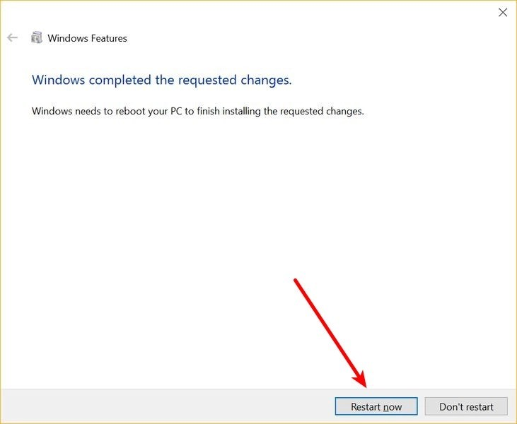 Restart Windows 10 after installing Bash on Windows