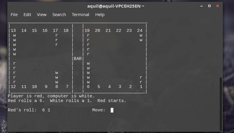 Backgammon terminal game in Linux