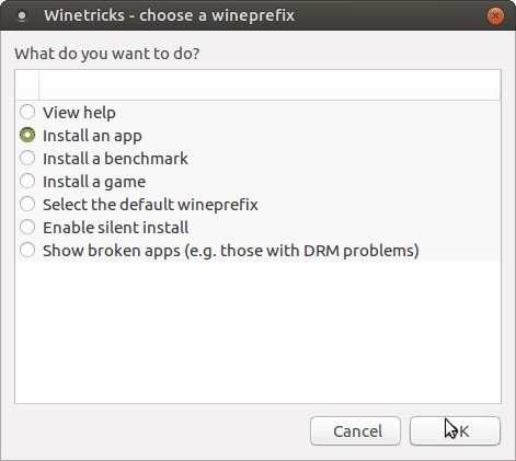 Winetricks - Install an app