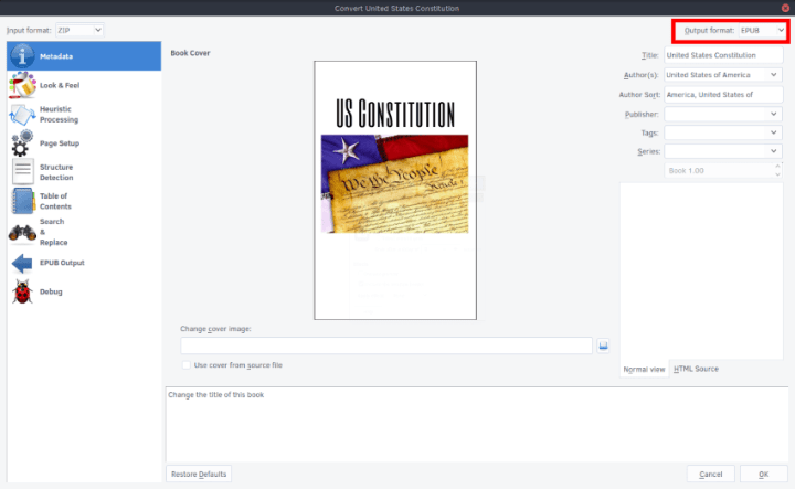 creating ebooks with Calibre in Linux -3