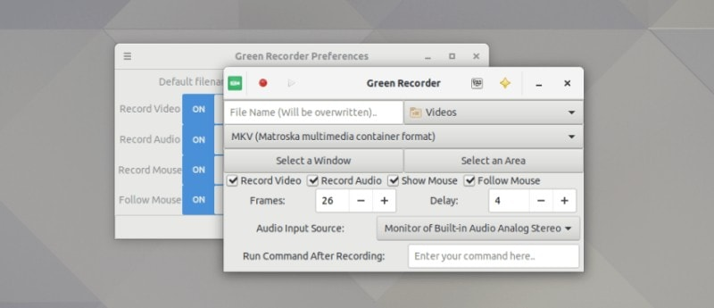 Green Recorder is a screen recording tool for Linux
