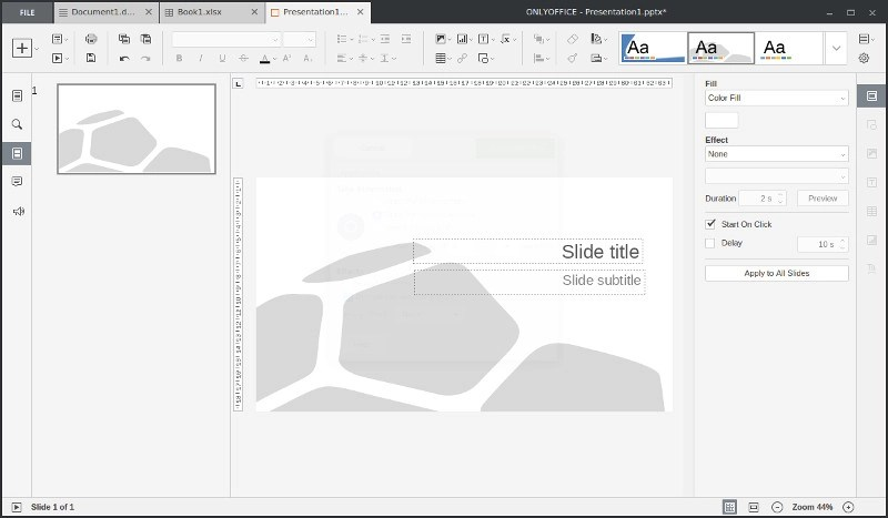 Powerpoint slides in OnlyOffice