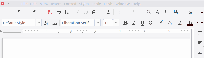 LibreOffice normal interface