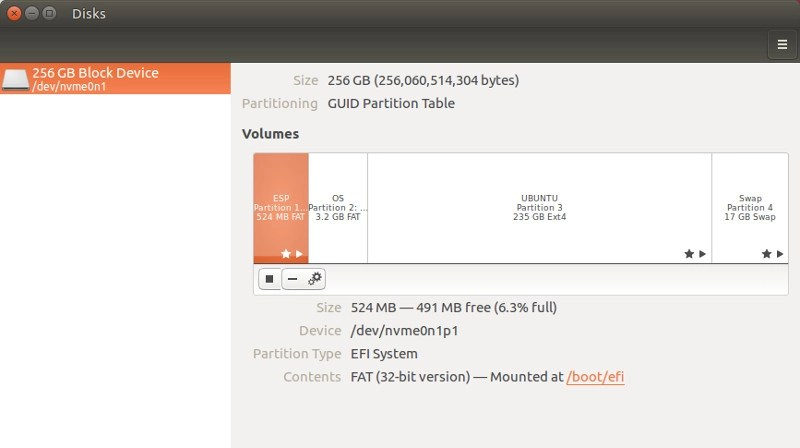 Dell XPS 13 Ubuntu edition disk partition