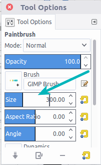 Change the size of brush to add a watermark in GIMP