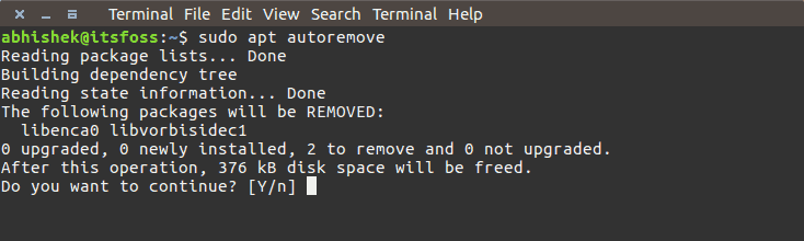 Use aot command to free up space in Ubuntu Linux