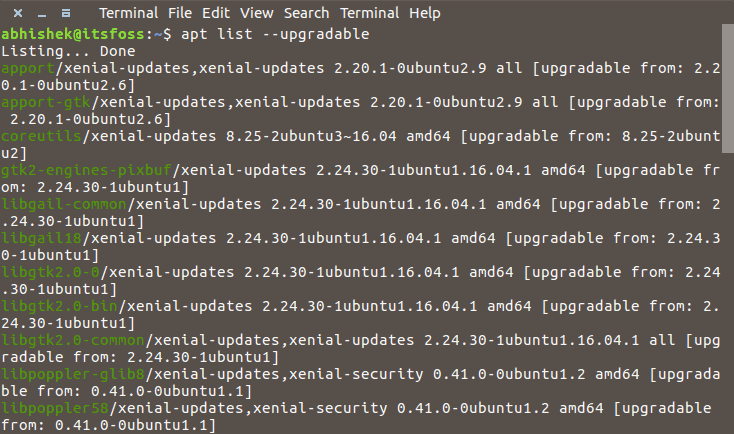List all upgradeable packages using apt command in Linux
