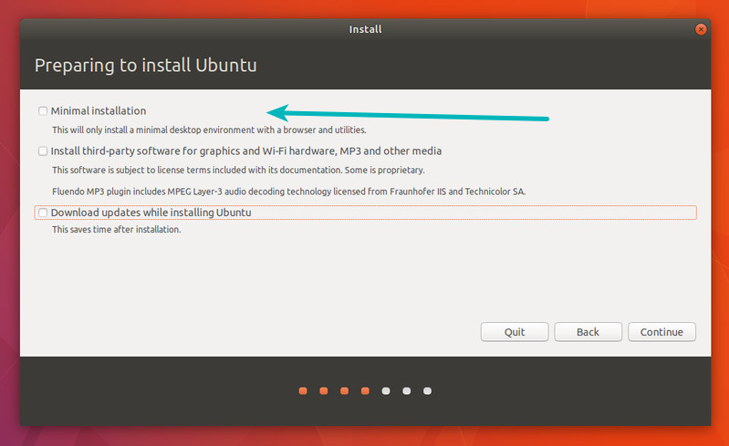 Minimum installation option in Ubuntu 18.04