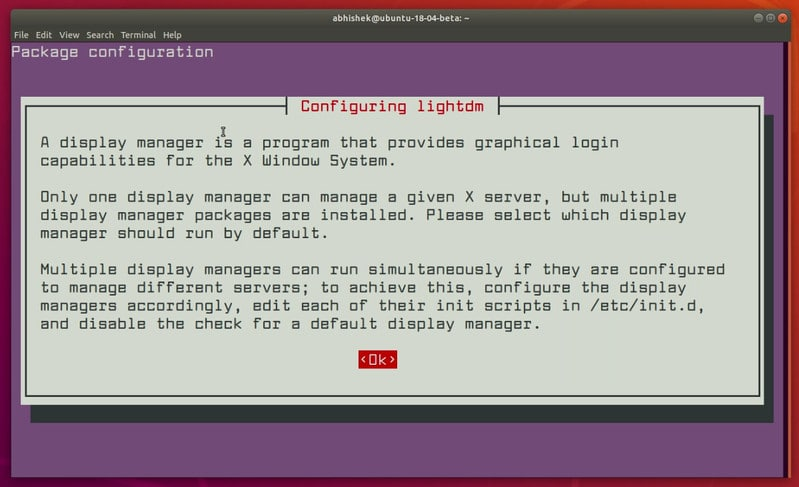 Switch to lightdm while installing Unity on Ubuntu 18.04