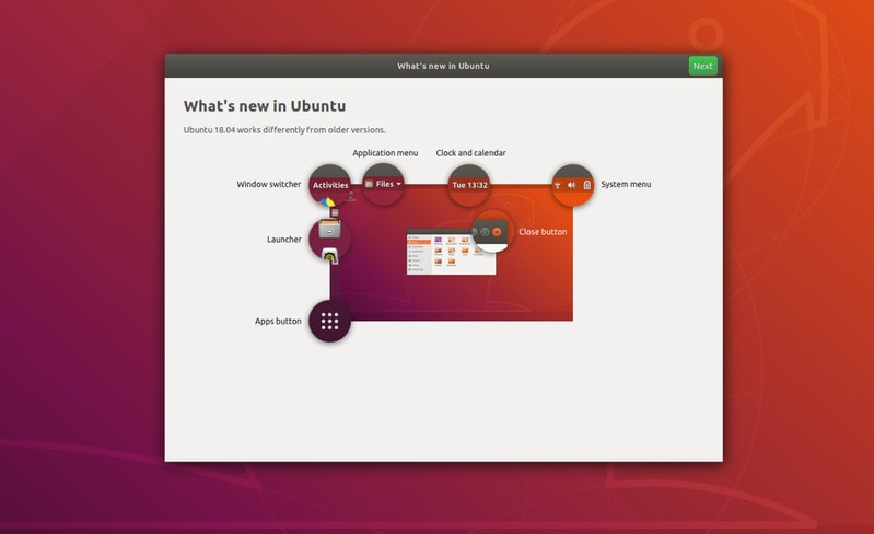 Welcome screen in Ubuntu 18.04