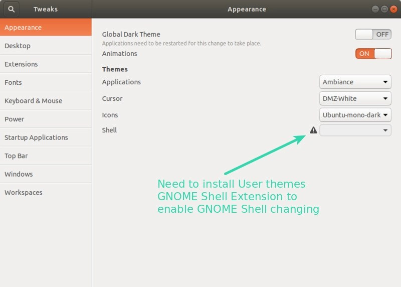 Enable GNOME Shell change