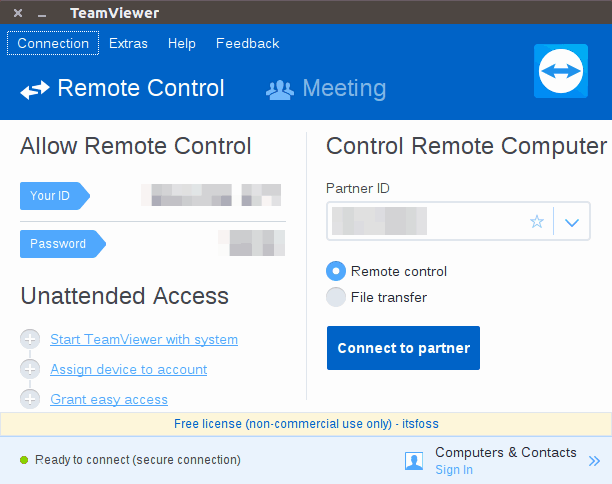 Using TeamViewer in Linux to connect to a remote desktop
