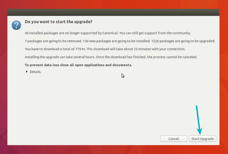 Warning before Ubuntu 18.04 upgrade