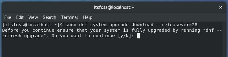 Upgrading Fedora release in the command line