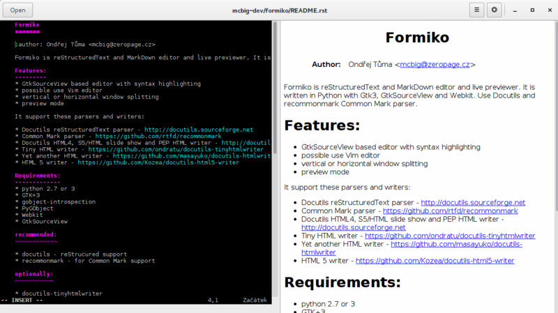 Formiko, a reStructuredText Editor for Python Documentation - It's FOSS