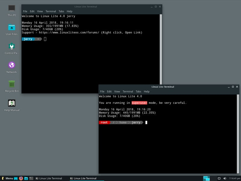 Xfce Terminal is the default terminal in Linux Lite 4.0