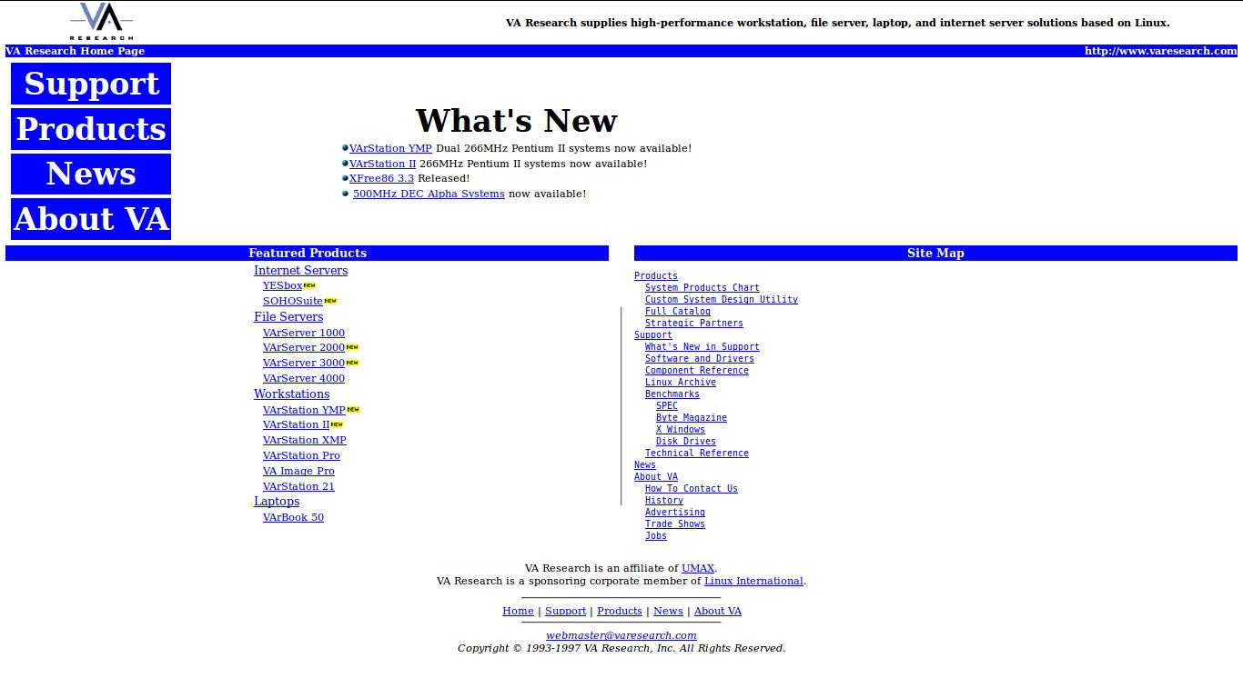 Linux Powered Machines on sale on varesearch.com | July 15, 1997