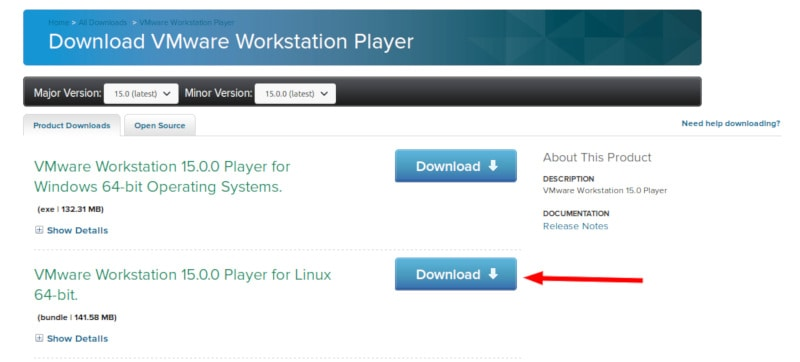 Downloading VMware Workstation Player for Linux