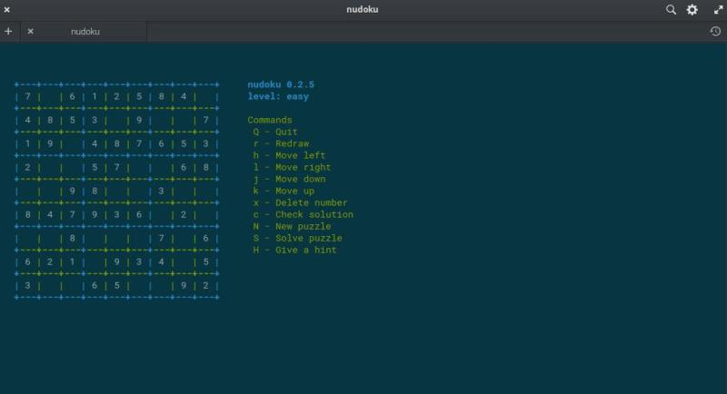 Nudoku is a terminal version game of Sudoku