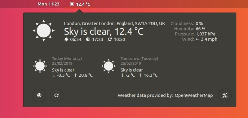 Open Weather Gnome Shell Extesnsion