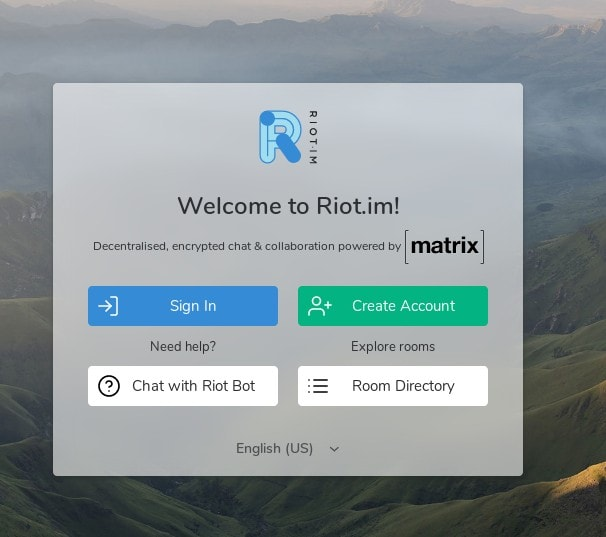 Riot IM Welcome Screen