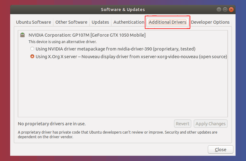 software & updates additional drivers