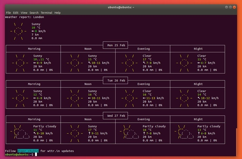 Wttr.in Weather App Terminal