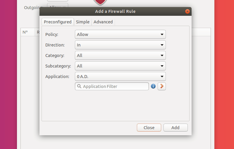 Add a Firewall Rule in GUFW