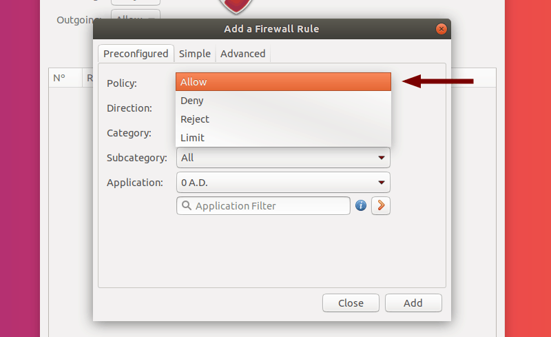 Select Policy of a Preconfigured Rule in GUFW