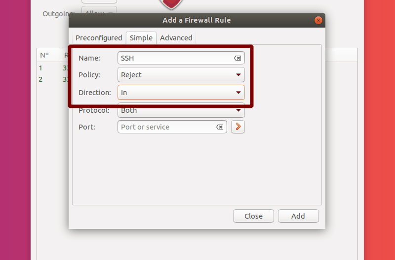 Select Name, Policy and Direction for a Simple Rule in GUFW