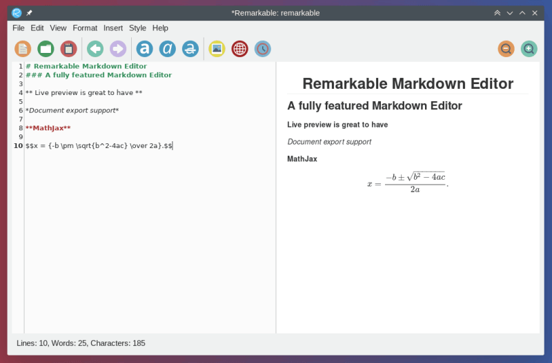 remarkable mathjax support markdown