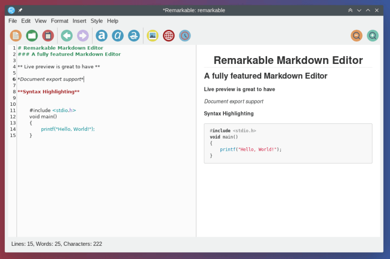 Remarkable syntax highlighting markdown editor