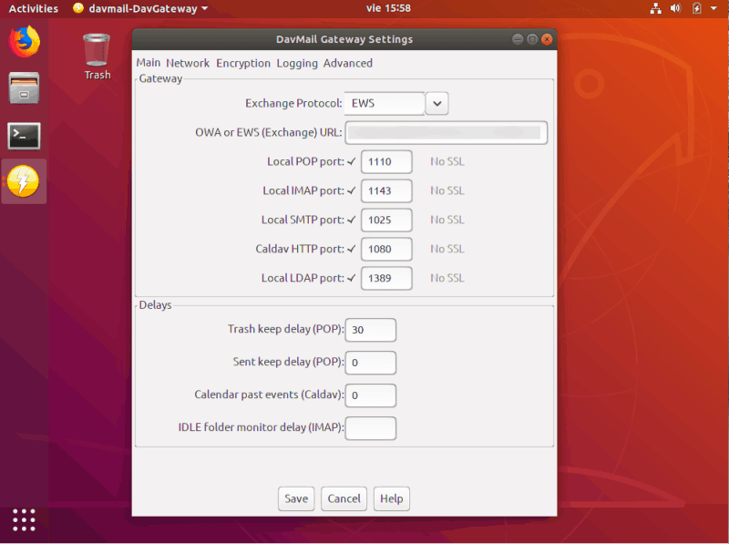 DavMail to enable Exchange support in Linux