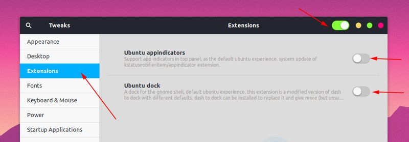 Manage Gnome Extension Tweaks Tool
