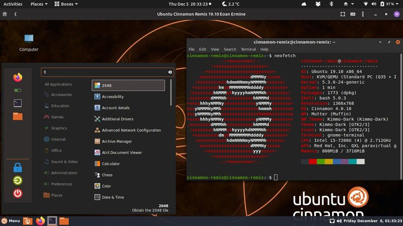Ubuntu Cinnamon Distribution Screenshot