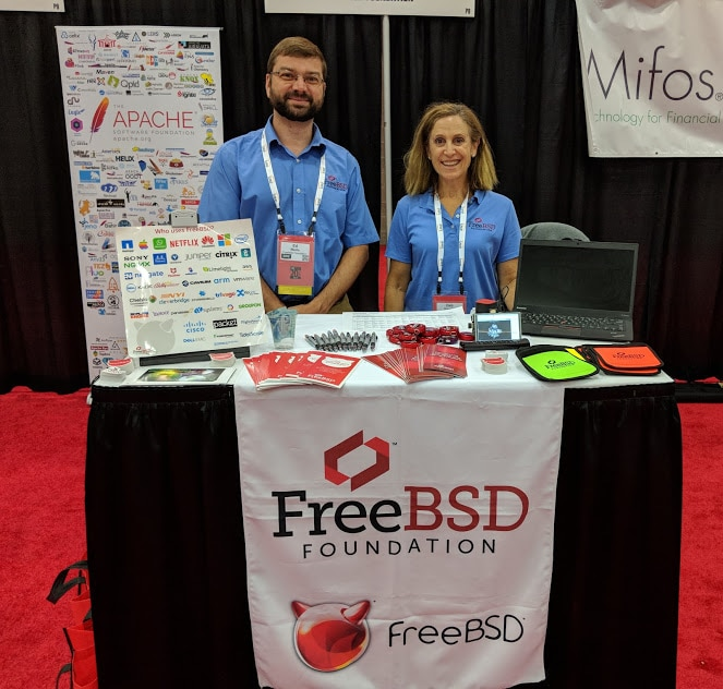 Freebsdfoundation Deb Goodkin And Friend Promoting Freebsd At Oscon