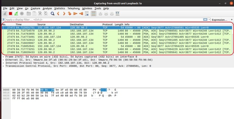 Captured packets in Wireshark