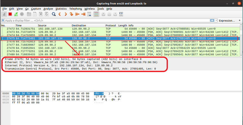 Packet info in Wireshark